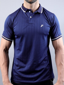 Navy Blue & White Polo T-Shirt