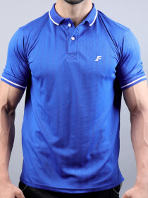 FIREOX Royal Blue & White Polyester Active-wear Polo T-Shirt for Men