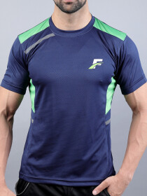 Blue/Parrot Green Athletic Fit Men's T-Shirt