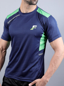 FIREOX Blue & Parrot Green Polyester Active Fit T-Shirt for Men