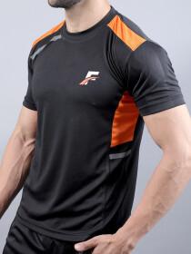 FIREOX Black & Orange Polyester Active Fit T-Shirt for Men
