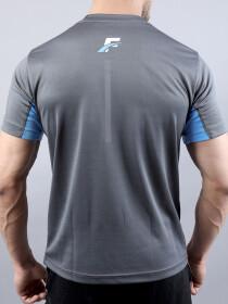 Grey/Sky Blue Athletic Fit Men's T-Shirt