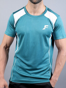 FIREOX  Green & White Polyester Active Fit T-Shirt for Men