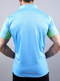 Sky Blue & Green Actifit T-Shirt