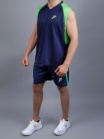 Blue & Parrot Green Training Tank Top and Shorts