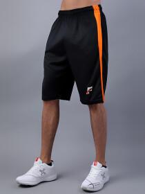 FIREOX Black & Orange Polyester Active Fit T-Shirt & Shorts for Men