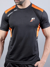 FIREOX Black & Orange Polyester Active Fit T-Shirt & Shorts for Men