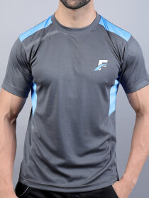 FIREOX Grey & Sky Blue Polyester Active Fit T-Shirt & Shorts for Men
