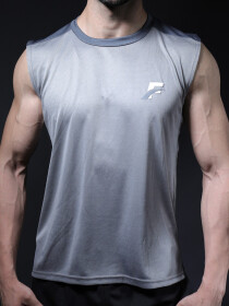 FIREOX White & Grey Polyester Active Fit Training Tank Top for Men