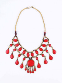 Red Three Layered Necklace