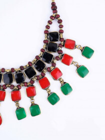 Multi Colored Three Layered Necklace