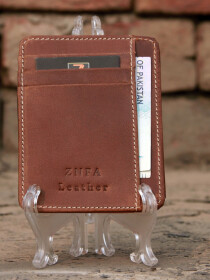 Genuine Leather Vintage Slim Fit ID Window Cash Card Holder