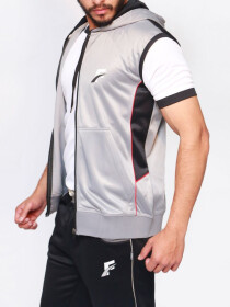FIREOX  Silver Polyester Active-wear Sleeveless Hoodie for Men