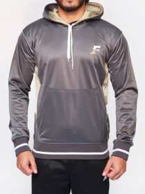 FIREOX  Dark Grey Polyester Active-wear Hoodie for Men