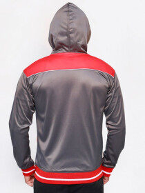 Grey & Red Active wear Hoodie for Men