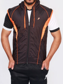 Black & Orange Sleeveless Windbreaker Hoodie for Men