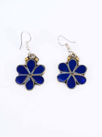 Dark Blue Flower Earrings