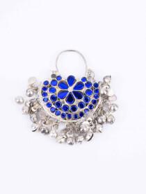 Blue & Silver Chand Bali