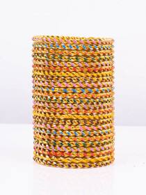 Multi Colored Spiral Aluminium Bangles (12 Pieces Set)