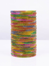 Multi Colored Rangoli Aluminium Bangles (12 Pieces Set)