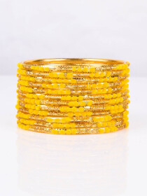 Yellow Embedded Velvet Aluminium Bangles (12 Pieces Set )