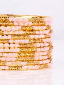 Pink Embedded Velvet Aluminium Bangles