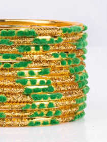Green Embedded Velvet Aluminium Bangles (12 Pieces Set )