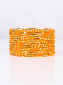 Orange Embedded Velvet Aluminium Bangles (12 Pieces Set )