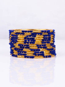 Blue Embedded Velvet Aluminium Bangles (12 Pieces Set )