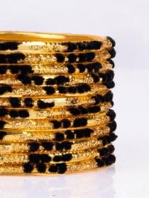 Black Embedded Velvet Aluminium Bangles