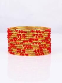 Red Embedded Velvet Aluminium Bangles