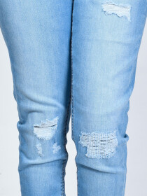Light Blue Ripped Stretch Denim Jenna Jeans