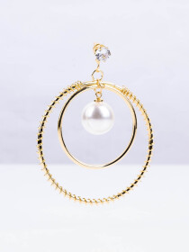 Forever New Circular Drop Pearl Earrings