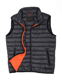 Grey Orange Sleeveless Puffer Gilet Jacket