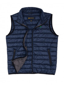 Navy Blue Grey Sleeveless Puffer Jacket