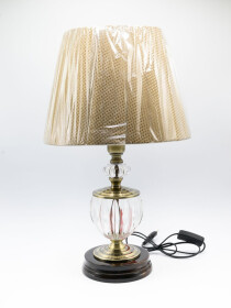 A Pair of Glowo Antique Crystal Column Table Lamp