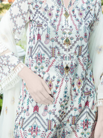 Off White Embroidered  Lawn 3 Piece Suit For Women