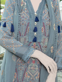 Multicolored Embroidered Lawn 3 Piece Suit For Women