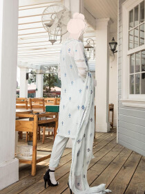 White & Blue Embroidered Lawn 3 Piece Suit For Women