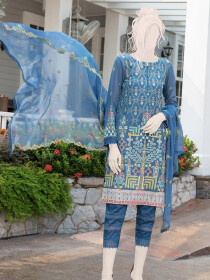 Blue Embroidered Lawn 3 Piece Suit For Women