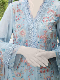 Grey Embroidered Lawn 3 Piece Suit For Women