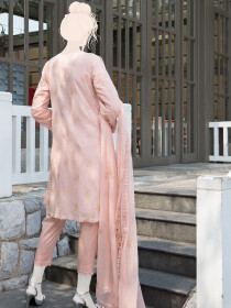 Peach Embroidered Lawn 3 Piece Suit For Women