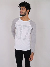 Grey & White Printed Cotton Jersey for Men