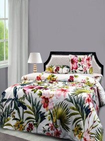 Floral white Bed sheet With Two Pillow Covers