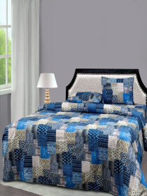 Printed Multi Colored Bed Sheet With Two Pillow Covers