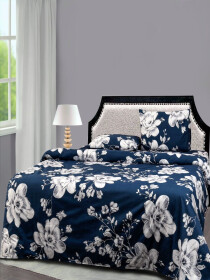 Navy Blue Floral Bed Sheet With Two Pillow Covers