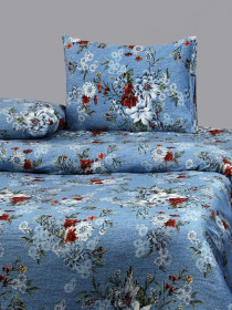 Printed Blue Flowers Bed Sheet With Two Pillow Covers