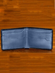 Bi Fold Leather Wallet with Hidden Pockets- Black with Grey