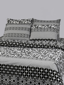Printed Grey and Black Bed Sheet With Four Pillow Covers