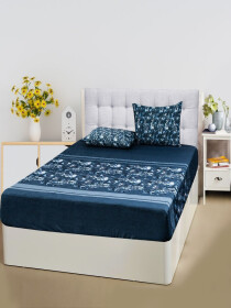 Floral Blue Bed Sheet With Two Pillow Covers